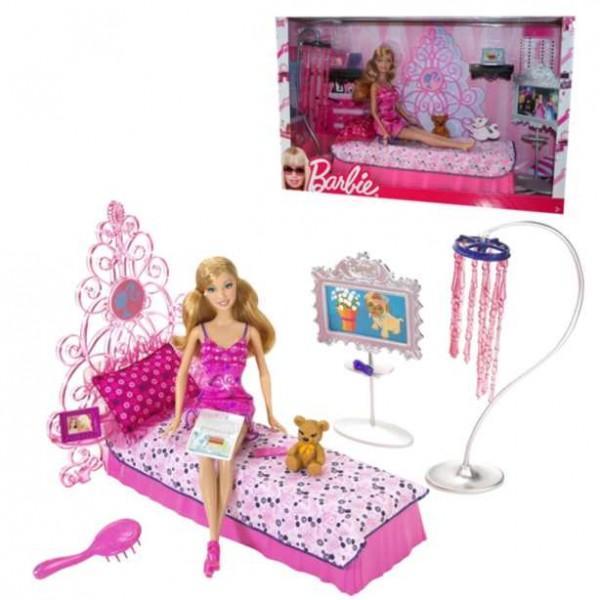 barbie m bel schlafzimmer mit puppe. Black Bedroom Furniture Sets. Home Design Ideas