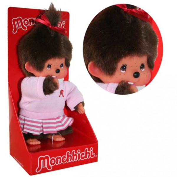 Monchhichi-Maedchen-im-gestreiften-Rock