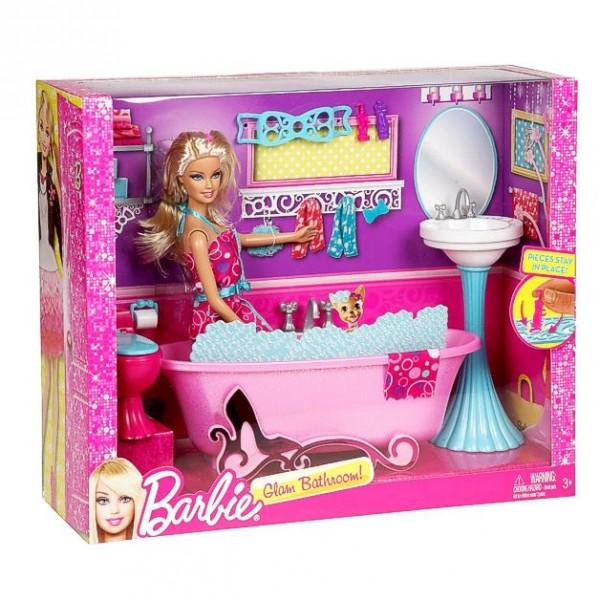 Barbie Muebles Mobiliario Baño - Cuarto de baño con Muñeca