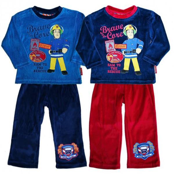 feuerwehrmann sam kinder pyjama schlafanzug velours gr 92 116 ebay. Black Bedroom Furniture Sets. Home Design Ideas