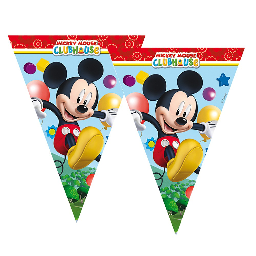 micky maus party wimpel kette girlande flaggenbanner 2 3m mickey mouse micky maus freunde. Black Bedroom Furniture Sets. Home Design Ideas