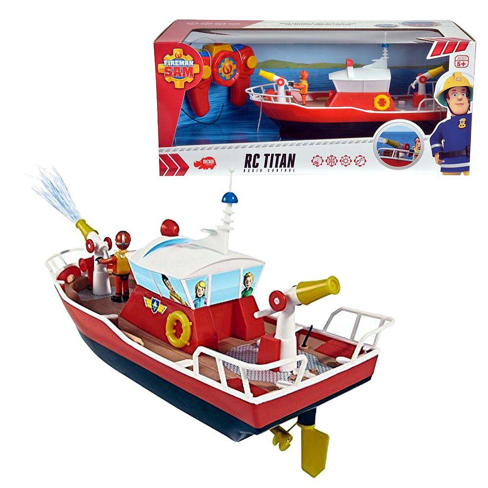 feuerwehrmann sam  rc boot rettungsboot titan  licht