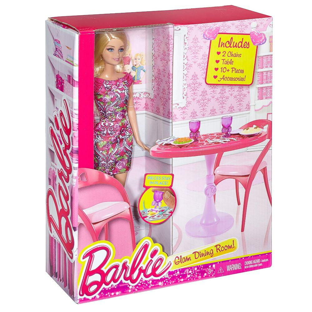 barbie m bel einrichtung k che tisch esstisch mit. Black Bedroom Furniture Sets. Home Design Ideas