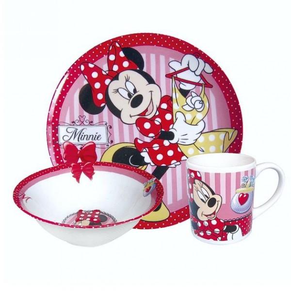 Geschirr Set = Minnie Maus  3teiliges Keramik Geschirr Set Frühstück
